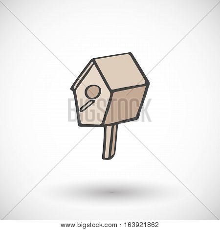 Bird house. Hand-drawn cartoon nesting box - gardening icon with round shadow. Vector illustration.