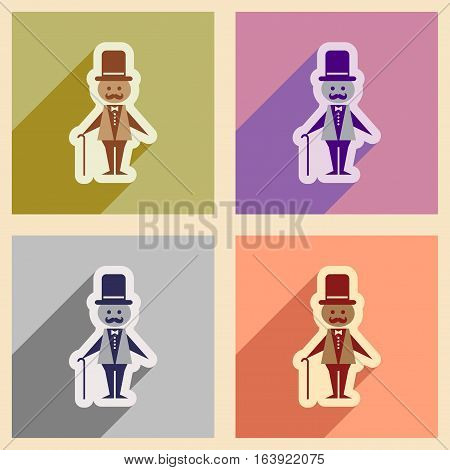 Set of flat web icons with long shadow stylish man