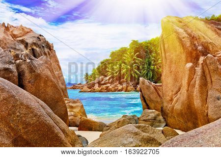 Anse Source d'argent La Digue island. The Seychelles. Toned image