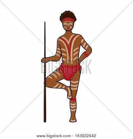 Astralian aborigine icon in cartoon design isolated on white background. Australia symbol stock vector illustration.