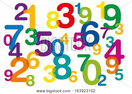 Floating and overlapping colored numbers as symbol for numerology or flood of data. Ten numbers from one to zero disorganized and of different sizes. Isolated illustration on white background. Vector.