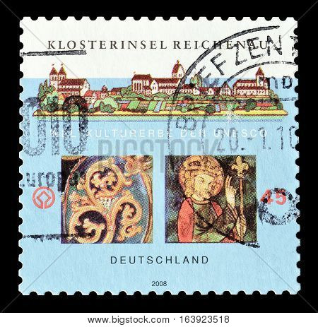 GERMANY - CIRCA 2008 : Cancelled postage stamp printed by Germany, that shows Castle and religious motives.
