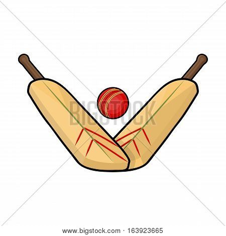 Crossed cricket bats with ball icon in cartoon design isolated on white background. Australia symbol stock vector illustration.