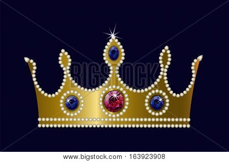 Gold Crown On Dark Background Ruby Sapphire Pearls. Vector
