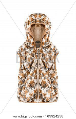 Orange hoodie sleeveless jacket on white background