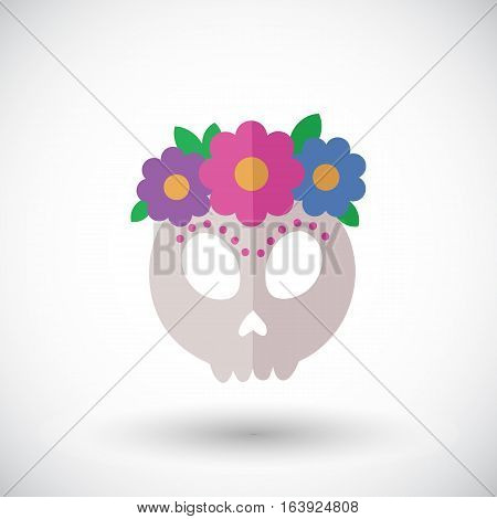 Skull icon. Flat design icon of skull with flowers - for Day of the Dead Dia de los Muertos or for Halloween. Vector illustration