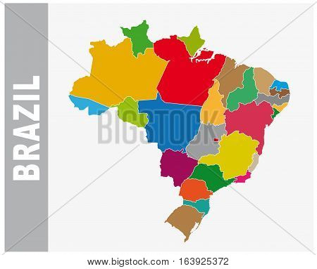 Colorful Brazil administrative and political vector map