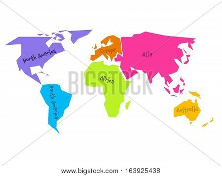 Simplified world map vector photo free trial bigstock simplified world map divided to six continents south america north america africa gumiabroncs Image collections