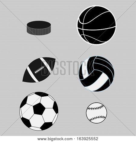 Sport balls on white background. basketball volleyball hockey baseball American football soccer ball set. Vector illustration