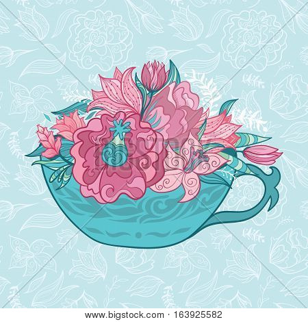 Creative fresh hand painted outline sketch floral card in turquoise and pink colors