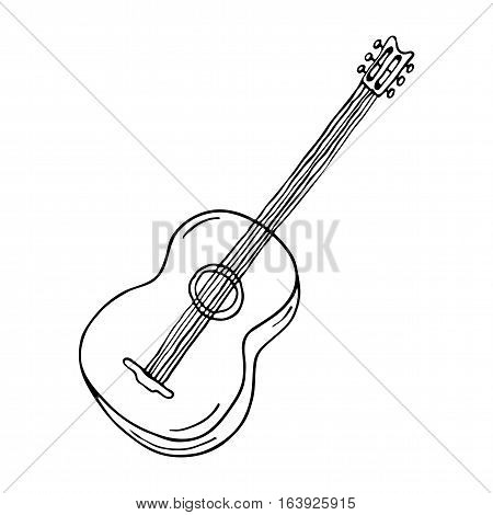 Acoustic guitar icon on white background. Vector