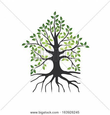 Abstract Natural Eco House Logo Design or Symbol