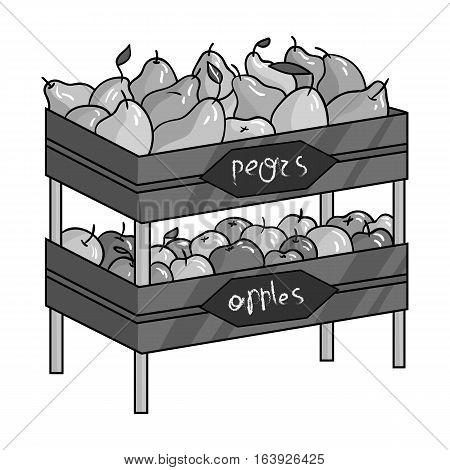Raw food lying on rack shelves icon in monochrome design isolated on white background. Supermarket symbol stock vector illustration.