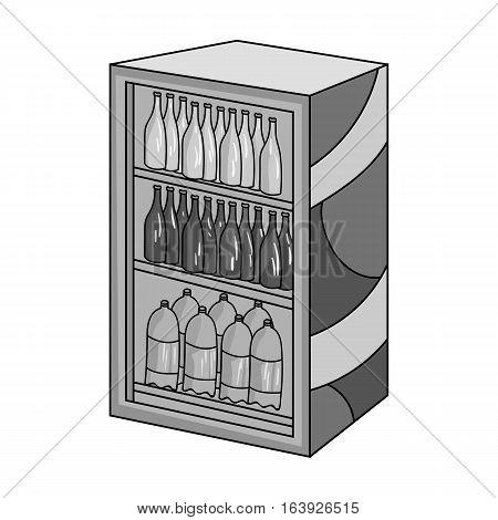 Fridge with drinks icon in monochrome design isolated on white background. Supermarket symbol stock vector illustration.