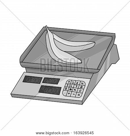 Store scale icon in monochrome design isolated on white background. Supermarket symbol stock vector illustration.