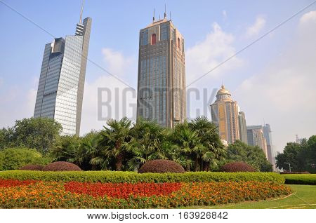 Jiangsu Broadcasting (JSBC) Building, Nanjing Postal Building and China Citic Bank in Gulou Square in the city center of Nanjing (Southern Capital), Jiangsu Province, China.