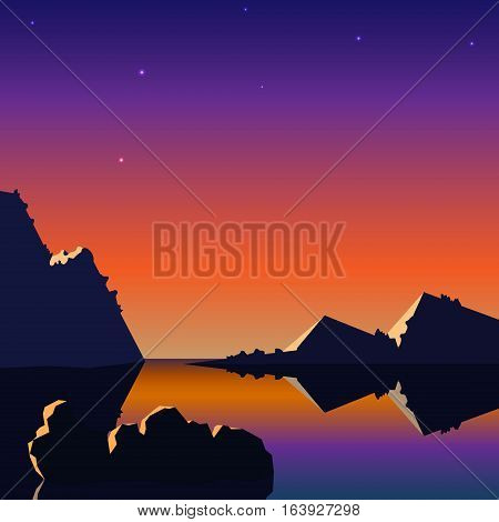 Vector realistic landscape with a sunset and mountains