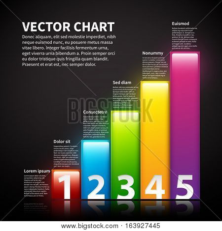 Colorful Vector Chart With Text And Numbers.