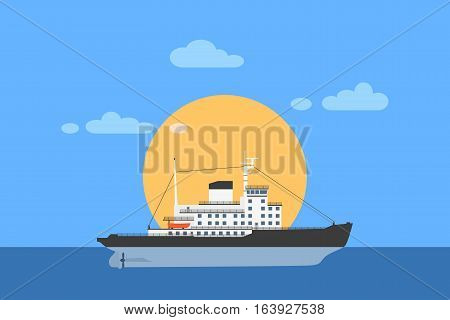 picture of diesel icebreaker ship with sun on background flat style illustration