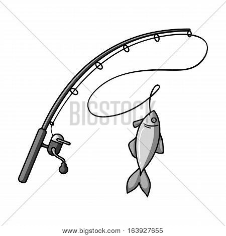 Fishing rod and fish icon in monochrome design isolated on white background. Fishing symbol stock vector illustration.