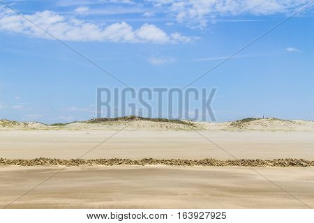 Dry Over Wet Sand  And Dunes In Cassino Beach