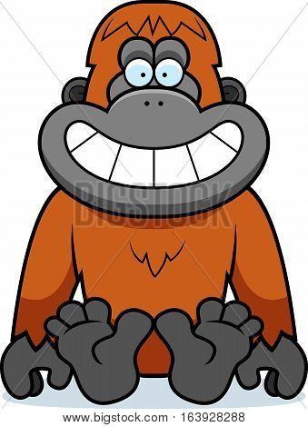 Cartoon Orangutan Sitting