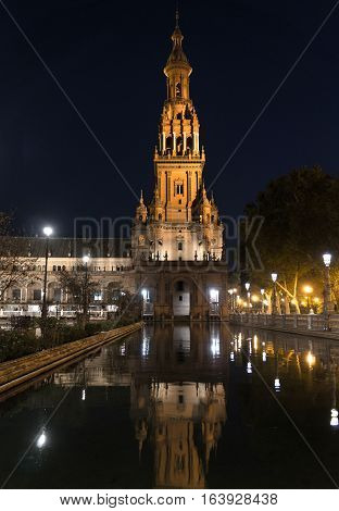 Plaza de Espana at night, Andalusia, Seville Spain
