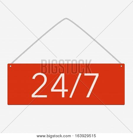 Vector Button 24 7 On White Background