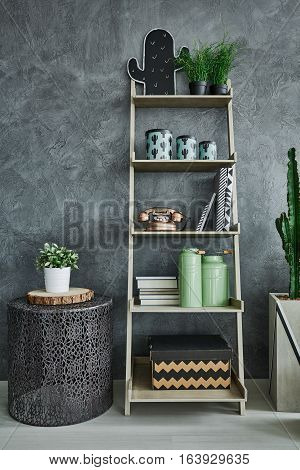 Grey Wall Stucco And Bookshelf