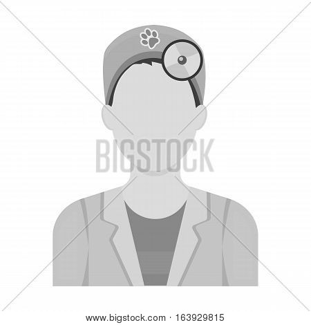 Pet doctor icon in monochrome design isolated on white background. Veterinary clinic symbol stock vector illustration.