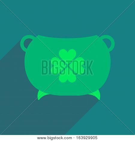 Flat web icon with long shadow cauldron