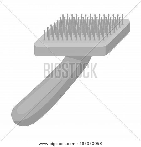 Brush for animal fur icon in monochrome design isolated on white background. Veterinary clinic symbol stock vector illustration.