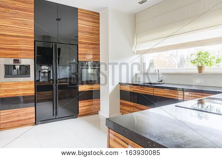 Kitchen With Black Marble Worktop