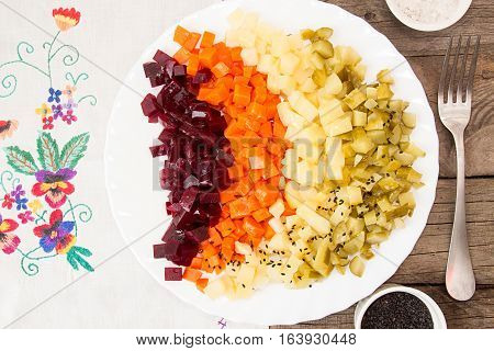 Plate Of Beetroot Salad Of Boiled Organic Homegrown Vegetables