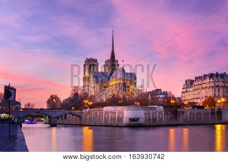 Picturesque grandiose sunset over Cathedral of Notre Dame de Paris, France