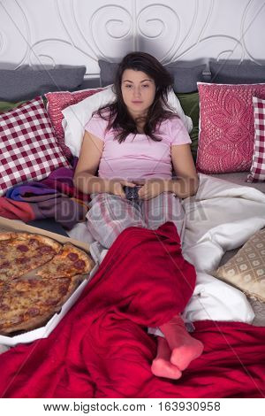 Single Woman Eating Pizza