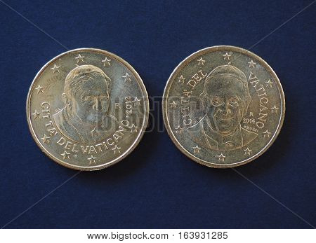 Pope Benedict Xvi And Francis I 50 Cents Coins