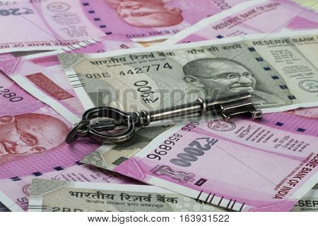 New Indian Rupees Currency with a Key