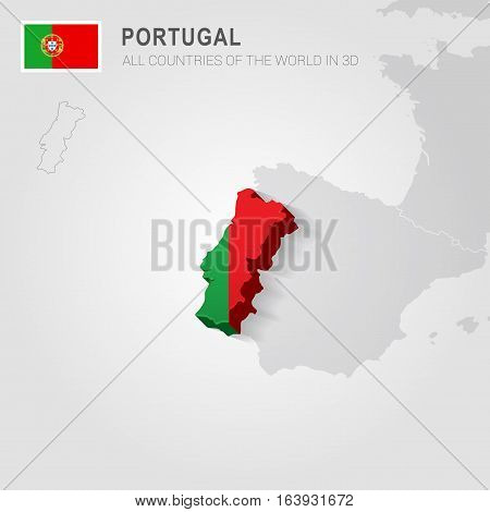 Portugal and neighboring countries. Europe administrative map.