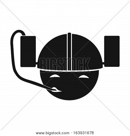 Beer helmet icon in black design isolated on white background. Pub symbol stock vector illustration.