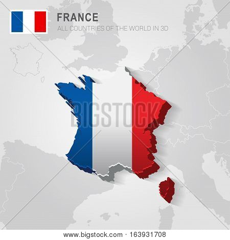 France and neighboring countries. Europe administrative map.