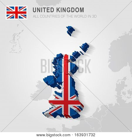 United Kingdom and neighboring countries. Europe administrative map.