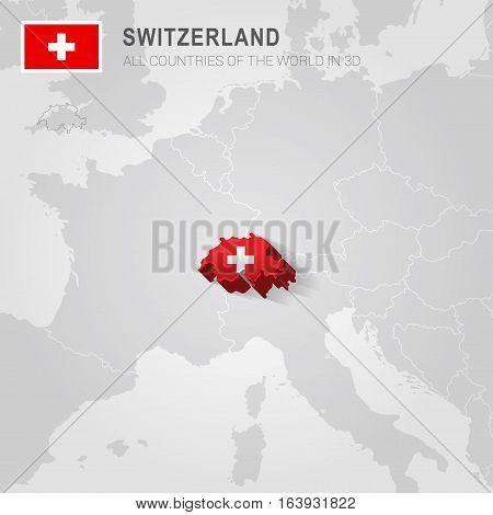 Switzerland and neighboring countries. Europe administrative map.