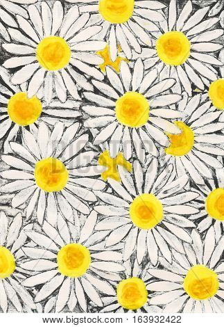 Background with white camomiles - big ox-eye daisies painting gouache