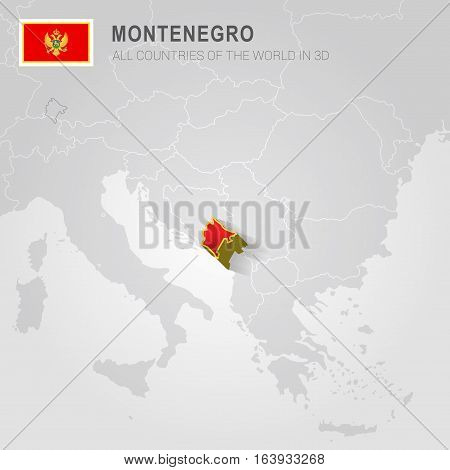 Montenegro and neighboring countries. Europe administrative map.