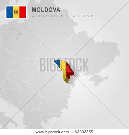 Moldova and neighboring countries. Europe administrative map.