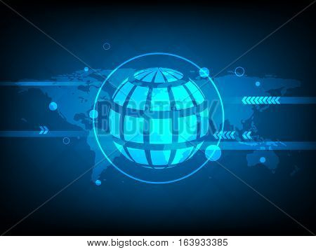 Abstract global world map Circle digital technology background futuristic structure elements concept background design