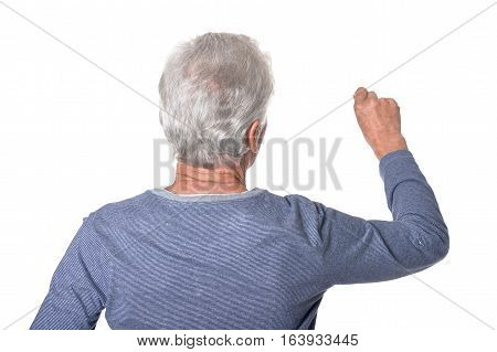 Rear view of senior man writing isolated on white background