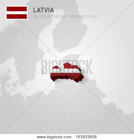 Latvia and neighboring countries. Europe administrative map.