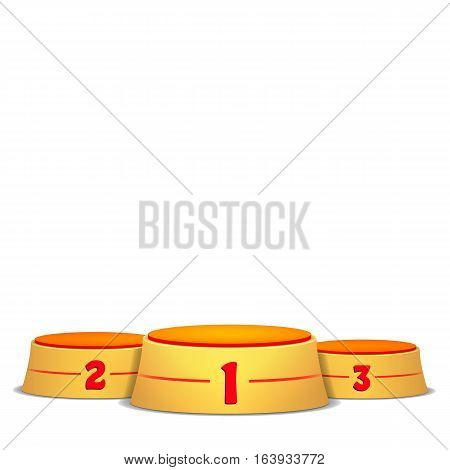 Empty Vector Podium. Round Winners Pedestal Concept With First, Second And Third Place For Award Ceremony. Isolated On White Background. Yellow 3D Stage. Realistic Platform.